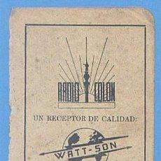 Documentos antiguos: RECORTE PUBLICIDAD RADIO COLON. WATT SON. PALMA MALLORCA. 11,5 X 7,5 CM. AÑO 1951. Lote 49932049