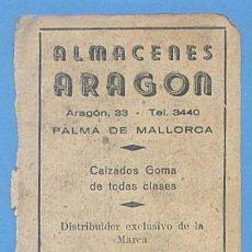 Documentos antiguos: RECORTE PUBLICIDAD ALMACENES ARAGON. CALZADOS GOMA. CONSTELACION. PALMA MALLORCA 11,5X7,5CM AÑO 1951. Lote 49932076