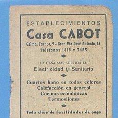 Documentos antiguos: RECORTE PUBLICIDAD CASA CABOT. ARTICULOS ELECTRICIDAD. SANITARIO. PALMA MALLORCA 11,5X7,5CM AÑO 1951. Lote 49932087