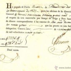 Documentos antiguos: ALMODOVAR DEL PINAR (CUENCA) - AÑO 1826 - RECIBO PAGO DEL PÓSITO REAL POR FANEGAS DE TRIGO. Lote 49964643
