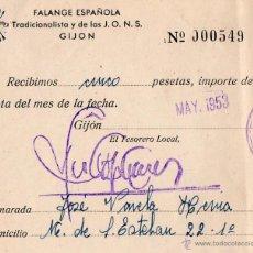 Documentos antiguos: ANTIGUO RECIBO FALANGE ESPAÑOLA. GIJON. ASTURIAS. 1953. Lote 50037546