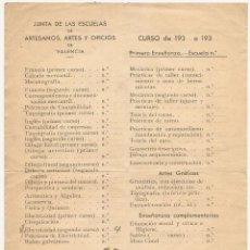 Documentos antiguos: VALENCIA. ESCUELAS DE ARTES Y OFICIOS. MATRÍCULA DE 1937. GUERRA CIVIL. MARCHAMO DE UGT-CNT. Lote 50095123