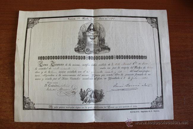 ADMINISTRACIÓN DEL CEMENTERIO DE IGUALADA. 1870. DOCUMENTO DE COMPRA DE UN NICHO. (Coleccionismo - Documentos - Otros documentos)