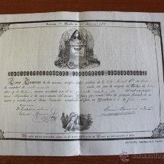 Documentos antiguos: ADMINISTRACIÓN DEL CEMENTERIO DE IGUALADA. 1870. DOCUMENTO DE COMPRA DE UN NICHO.. Lote 50103328