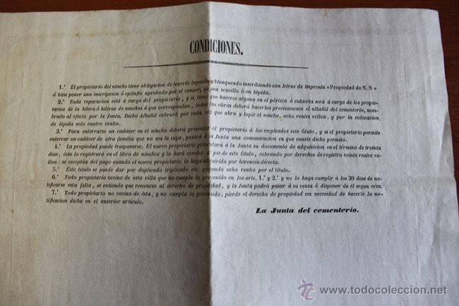Documentos antiguos: ADMINISTRACIÓN DEL CEMENTERIO DE IGUALADA. 1870. DOCUMENTO DE COMPRA DE UN NICHO. - Foto 2 - 50103328