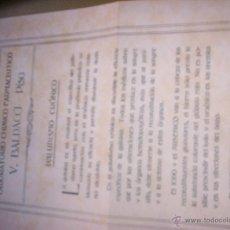 Documentos antiguos: PALUDISMO CRONICO - LABORATORIO CHIMICO - IODARSOLO MEDICAMENTO. Lote 50128816