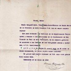 Documentos antiguos: DOCUMENTO - SOLICITUD AYUDA - RAMON BERGADA SOLA / SOC. VICENTE PAUL - TARRAGONA / TGN - AÑO 1949. Lote 50129755