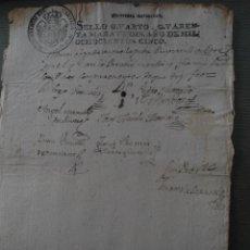 Documentos antiguos: ANTIGUA HOJA DE MANUSCRITO SELLO CARLOS IV - CAROLUS IV - ORIGINAL. Lote 50147288