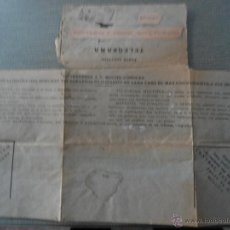 Documentos antiguos: ANTIGUO TELEGRAMA. Lote 50151237