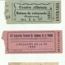 Documentos antiguos: ANTIGUAS ENTRADAS ESPECTÁCULOS DIVERSOS (3), TEATRO, RELIGIÓN Y TOROS 1956. Lote 50167583