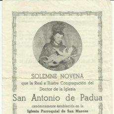 Documentos antiguos: SOLEMNE NOVENA 1956 - CONGREGACIÓN DE SAN ANTONIO DE PADUA. Lote 50167897