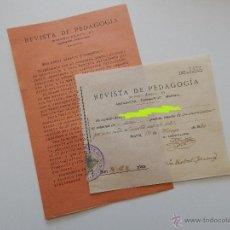 Documentos antiguos: SUSCRIPCIÓN A REVISTA DE PEDAGOGÍA/SOLICITUD AYUDA DE PUBLICIDAD + RECIBO DE SUSCRIPCIÓN ANUAL. 1930. Lote 50233016