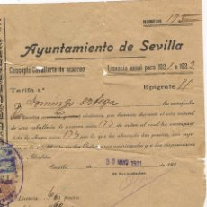 Documentos antiguos: ANTIGUO SELLO DE CIRCULACION PARA CABALLERIA DE ACARREOS CON DOCUMENTO Y PLACA DE METAL AÑO 1922. Lote 50293973