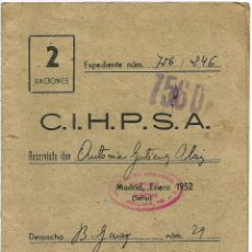 Documentos antiguos: TARJETA RACIONAMIENTO FRANQUISTA DE PAN - MADRID 1952 DOCUMENTO OFICIAL. Lote 56153931