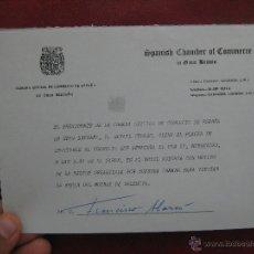 Documentos antiguos: CAMARA OFICIAL DE COMERCIO DE ESPAÑA EN GRAN BRETAÑA INVITACION A COCKTAIL FERIA VALENCIA. Lote 50378136