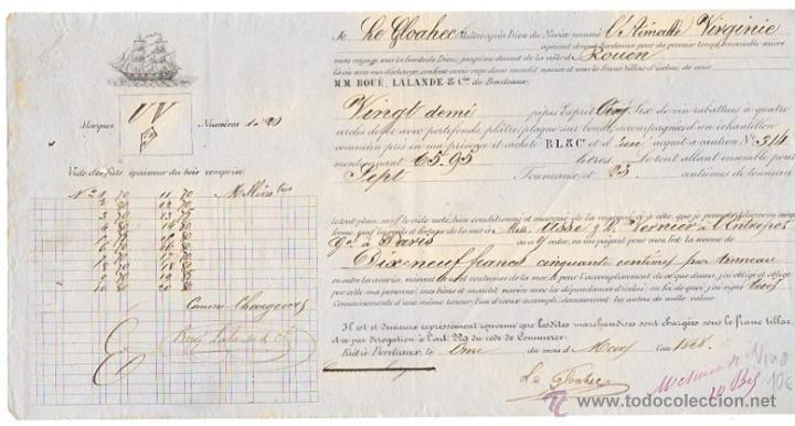 RECIBO EMBARQUE MERCANCIA (VINO) NAVIO AIMALLE VIRGINIE. BURDEOS, AÑO 1848 (Coleccionismo - Documentos - Otros documentos)