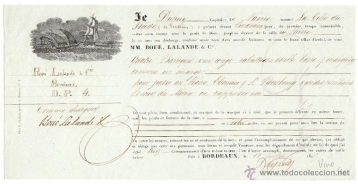 RECIBO EMBARQUE MERCANCIA (VINO) VAPOR LA VILLE DE ILARRE. BURDEOS. AÑO 1845 (Coleccionismo - Documentos - Otros documentos)