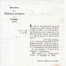 Documentos antiguos: NOMBRAMIENTO DE JUEZ DE PAZ DEL DISTRITO DE TINEO. OVIEDO. ASTURIAS. 1857. Lote 50451781
