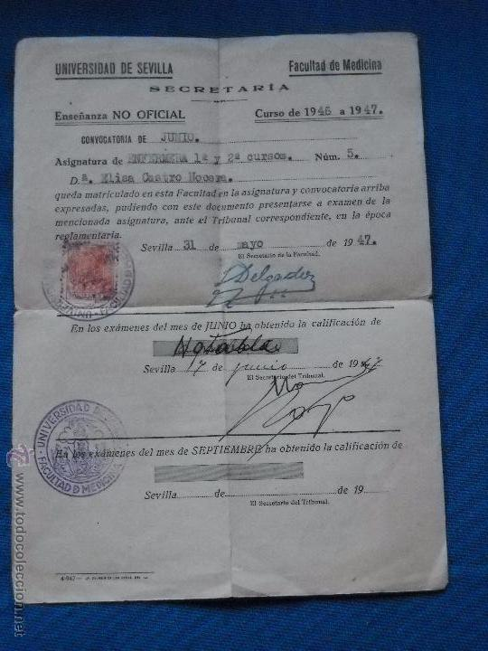 DOCUMENTO UNIVERSIDAD DE SEVILLA - CALIFICACION - FACULTAD DE MEDICINA - 1947 (Coleccionismo - Documentos - Otros documentos)