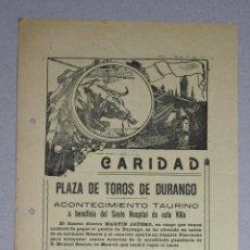 Documentos antigos: CARTEL PLAZA DE TOROS DE DURANGO. BIZKAIA. CARIDAD. CON PROGRAMA DE FIESTAS. AÑO 1927. Lote 50595022