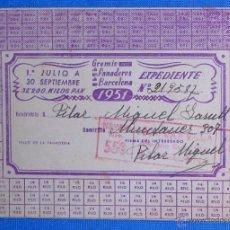 Documentos antiguos: GREMIO DE PANADEROS DE BARCELONA, 1951. TARJETA RESERVISTA DE RACIONAMIENTO, SIN USAR. . Lote 50603919