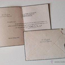Documentos antiguos: CARTA A MAQUINA ESCRITA Y FIRMADA POR ALEJANDRO RODRIGUEZ DE VALCARCEL, PRESIDENTE CORTES 1971+SOBRE. Lote 50629626