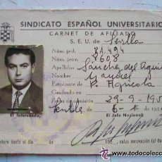 Documentos antiguos: FALANGE : CARNET DEL SINDICATO ESPAÑOL UNIVERSITARIO, SEU. SEVILLA 1954. PERITO AGRICOLA.. Lote 115338227