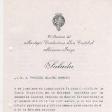 Documentos antiguos: CARTA SALUDA DIPTICO MONTEPIO CONDUCTORES SAN CRISTOBAL MANRESA-BERGA 1975 . Lote 50793389