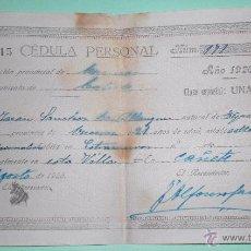 Documentos antiguos: CÉDULA PERSONAL CAÑETE 1926. Lote 50801526