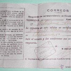 Documentos antiguos: CERTIFICADO AÑO 1933 CORREOS. Lote 50802102