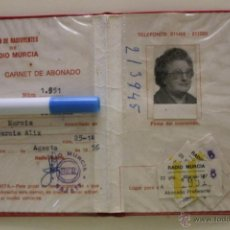 Documentos antiguos: SER RADIO MURCIA, CARNET DE UNION DE RADIOYENTES DE RADIO MURCIA ABONADO 1951. Lote 50849765
