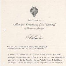 Documentos antiguos: CARTA PRESIDENTE MONTEPIO DE CONDUCTORES SAN CRISTOBAL MANRESA BERGA 1972. Lote 50860390