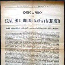 Documentos antiguos: DOCUMENTO PARLAMENTARIO. ANTONIO MAURA 1906.. ENVIO CERTIFICADO INCLUIDO. Lote 50867084