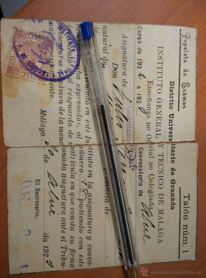 Documentos antiguos: ANTIGUO DOCUMENTOS UNIVERSIDAD DE GRANADA, PAPELETA EXAMEN 1922, INSTITUTO TECNICO MALAGA - Foto 2 - 50877157
