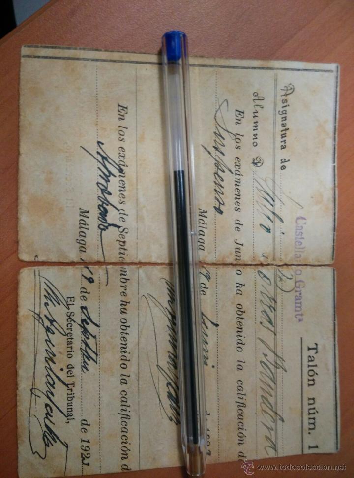 Documentos antiguos: ANTIGUO DOCUMENTOS UNIVERSIDAD DE GRANADA, PAPELETA EXAMEN 1922, INSTITUTO TECNICO MALAGA - Foto 3 - 50877157