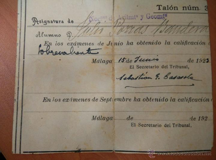 Documentos antiguos: ANTIGUO DOCUMENTOS UNIVERSIDAD DE GRANADA, PAPELETA EXAMEN 1922, INSTITUTO TECNICO MALAGA - Foto 6 - 50877157