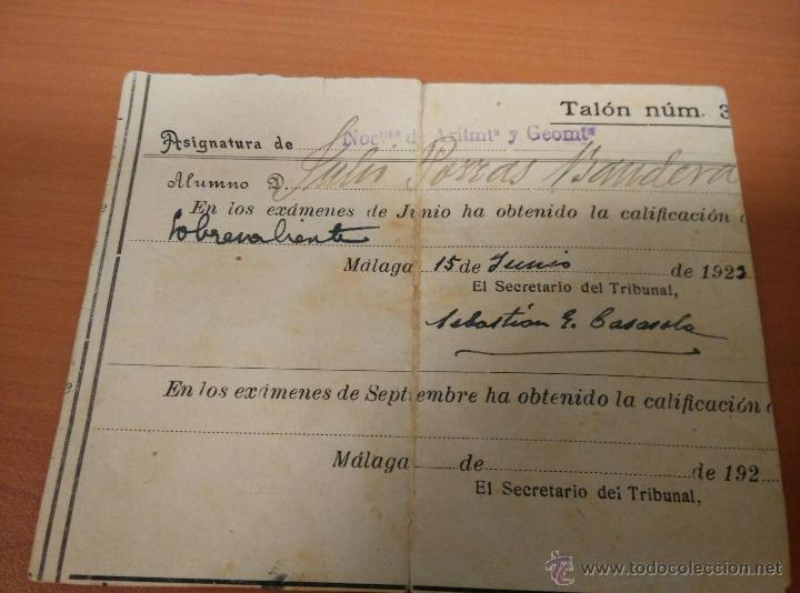 Documentos antiguos: ANTIGUO DOCUMENTOS UNIVERSIDAD DE GRANADA, PAPELETA EXAMEN 1922, INSTITUTO TECNICO MALAGA - Foto 7 - 50877157