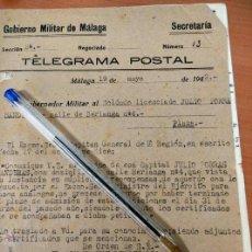 Documentos antiguos: ANTIGUO DOCUMENTO TELEGRAMA POSTAL DEL GOBIERNO MILITAR DE MALAGA, 1943, SOLDADO LICENCIADO. Lote 50877188