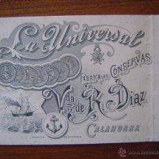 Documentos antiguos: TARJETA DE VISITA - FABRICA DE CONSERVAS LA UNIVERSAL- VDA. DE R.DIAZ -1899 - CALAHORRA. Lote 50918576