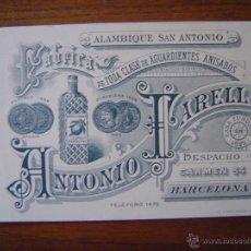 Documentos antiguos: TARJETA DE VISITA - ANTONIO FARELL - FABRICA DE AGUARDIENTES ANISADOS -FINAL SIGLO XIX - BARCELONA. Lote 50918613