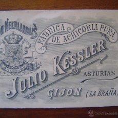 Documentos antiguos: TARJETA DE VISITA - FABRICA DE ACHICORIA - JULIO KESSLER - GIJON ( LA BRAÑA ) ASTURIAS . Lote 50918751