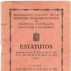 Documentos antiguos: MUTUALIDAD LABORAL DE LA INDUSTRIA SIDEROMETALÚRGICA DE VALENCIA, CASTELLÓN, ALICANTE Y BALEARES. Lote 50936002
