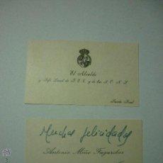 Documentos antiguos: DOS TARJETAS DE VISITA AÑOS 50 ALCALDE Y JEFE LOCAL FALANGE Y DE LAS JONS. PUERTO REAL. Lote 50979305