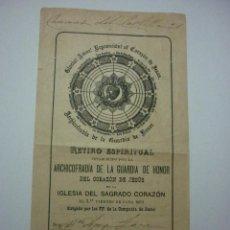 Documentos antiguos: 1917 RETIRO ESPIRITUAL ESTABLECIDO POR LA ARCHICOFRADÍA DE LA GUARDIA DE HONOR DEL CORAZÓN DE JESUS . Lote 50979728