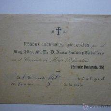 Documentos antiguos: 1900 PLÁTICAS DOCTRINALES QUINCENALES EN EL CONVENTO DE MARÍA REPARADORA. BENJUMEDA 29, CÁDIZ. Lote 50979760