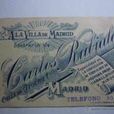 Documentos antiguos: TARJETA DE VISITA SASTRERIA DE CARLOS RUBIALES. MADRID. CABALLEROS Y NIÑOS. Lote 50987660