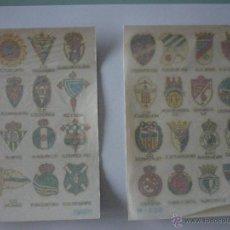 Documentos antiguos: LOTE DOS SERIES CALCOMANAS ORTEGA AÑO 1973. EQUIPOS DE FUTBOL. IMPECABLES. CONSERVAN PAPEL DE ARROZ. Lote 50997716