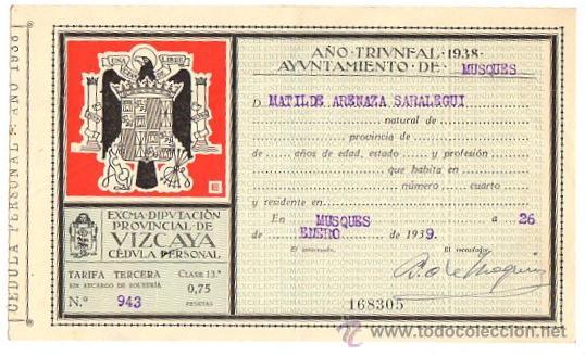 CEDULA PERSONAL MUSQUES. BIZKAIA. GUERRA CIVIL ESPAÑOLA. AÑO 1939 (Coleccionismo - Documentos - Otros documentos)