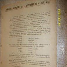 Documentos antiguos: COMPAÑIA GENERAL DE FERROCARRILES CATALANES 1934-1935. Lote 51158587