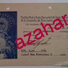 Documentos antiguos: SEMANA SANTA SEVILLA,1940, RECIBO CUOTA HERMANO, HERMANDAD DE MONTSERRAT. Lote 51308538